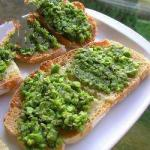 Italian Bruschetta with Peas and Mint Appetizer