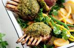 Italian Pestocrusted Lamb Racks With Golden Parmesan Potatoes Recipe Dinner