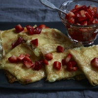 Italian Ricotta Crepes With Strawberries Dessert