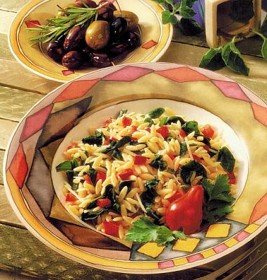 Italian Orzo with Spinach and Red Pepper Dinner