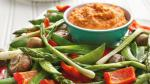 American Roasted Vegetables with Roasted Pepper Hummus Appetizer