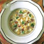 American Corn Soup with Potatoes and Bacon Appetizer