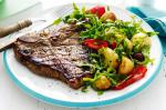 American Garlic And Rosemary Tbone Steaks With Warm Potato Salad Recipe Dinner