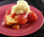 American Balsamic Strawberries and Ice Cream on Pound Cake Breakfast