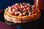 Canadian Ricotta Cheesecake With Red Grapes In A Wine Caramel Recipe Dessert