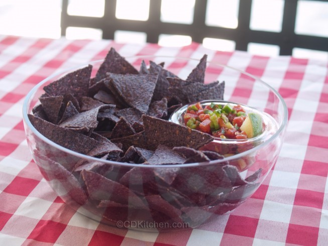 American Fresh And Easy Salsa With Blue Corn Chips Appetizer