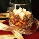 American Verrine Recipes of Bread of Spices Crispy Onion Confit and Dice of Foie Gras Appetizer