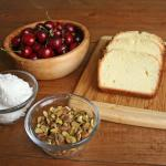 British Grilled Pound Cake With Rose Whipped Cream Pistachios and Cherries Dessert