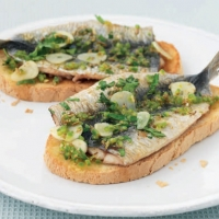 American Broiled Sardines on Toast Appetizer