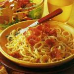 British Spaghetti Carbonara with a Salad of Baked Tomatoes Dinner