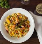 Australian Butternut Squash Risotto with Shrimp and Pancetta  Glamorous Bite  Clean Eating Lowcarb Semipaleo Appetizer