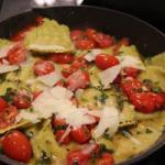American Ravioli of Ricotta with Cherry Tomatoes Appetizer