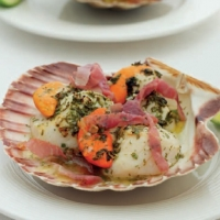 British Broiled Scallops with Prosciutto and Lime Appetizer