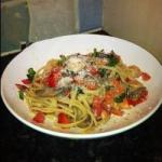 American Linguini of Seafood and Fresh Tomatoes Appetizer