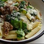 French Sausage Meat and Spinach Pasta Dinner