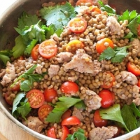 Polish Lentils with Sausage and Tomato Dinner