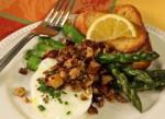 American Panroasted Asparagus with Poached Eggs and Brown Butterlemon Hazelnuts Appetizer