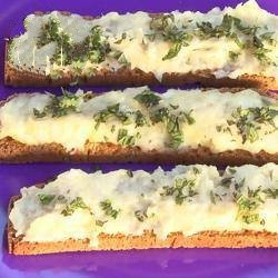 Spanish Brandada De Bacalao crostini with Cream of Salt Cod and Potatoes Appetizer