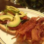 American Toasted Bread with Bacon and Avocado Appetizer