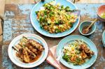 American Spicy Broccoli Fried Rice With Hoisin Barbecued Chicken Skewers Recipe Dinner