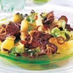 American Salad of Chicken Livers and Apples on Oak Leaves Appetizer