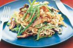 Canadian Stirfried Noodles With Satay Chicken and Mushrooms Recipe Dinner