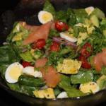 American Green Salad with Smoked Salmon and Quail Eggs Appetizer