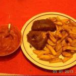 French Fish with French Fries and Homemade Ketchup Appetizer
