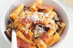 British Rigatoni With Spicy Salami Eggplant and Tomato Sauce Recipe Appetizer
