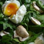 Australian Poached Egg on Spinach Warm Dressing Appetizer