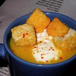 British Roasted Pumpkin Soup with Roasted Garlic and Black Pepper Crouton Soup