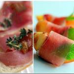American Appetizers of Ham with Peaches Appetizer