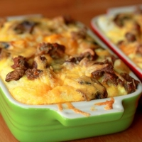 Romanian Sausage and Cheese Strata Dinner