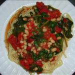 Canadian White Bean Spinach and Tomato Linguine Dinner