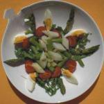 Australian Full Salad with Asparagus White and Green Dinner