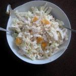 Chinese Salad of Chinese Cabbage with Apples and the Tangerine and Its Yogurt Sauce with Lemon Dinner
