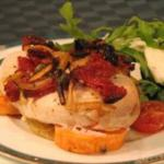 British Baked Chicken with Rocket and Goats Cheese Salad Dinner