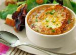 French Caramelized French Onion Soup en Croute Appetizer