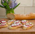 French Sliced Baguette with Butter Radishes and Sea Salt Other