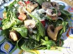 American Warm Mushroom  Wilted Spinach Salad Appetizer