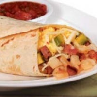 Mexican Breakfast Burrito with Scrambled Egg Potatoes and Green Chilies Breakfast
