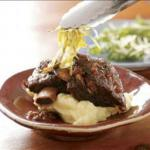 Asian Beef Short Ribs Asian-style with Julienned Leeks Alcohol