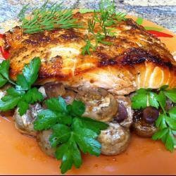 Russian Original Combination of Fish with Mushrooms you Can Use Forest Cooked in the Oven Quick Delicious Dinner for the Entire Fami Dinner