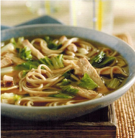 American Roast Pork Soup with Soba Noodles and Bok Choy Soup