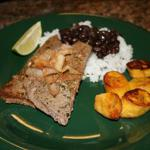 Cuban Palomilla Steak with Black Beans Rice and Sweet Plantains Drink