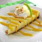 American Cheesecake of Coconut and Lima with Mango Coulis Dessert