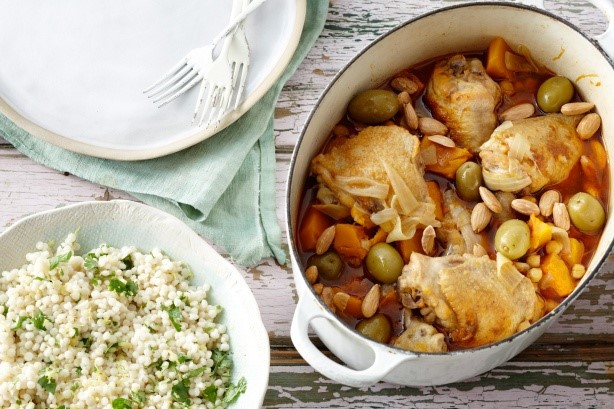 Moroccan Moroccan Chicken And Green Olive And Almond Tagine With Lemony Pearl Couscous Recipe Dinner