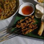 Chilean Chicken Brochettes in Peanut Sauce and Soya Appetizer
