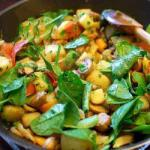 American Fried Potatoes Mushrooms and Spinach Appetizer