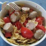 American Farfalles Has the Tomato and Sausage Dinner
